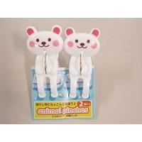 Plastic clothespin, bear, 2p