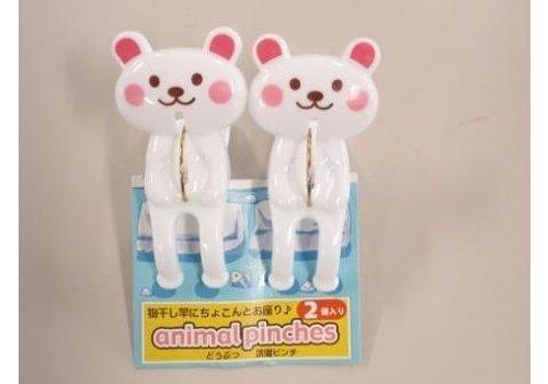 Animal laundry pinch white baer 2p : PB