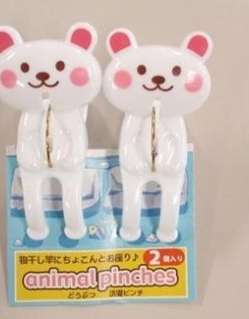 Pika Pika Japan Animal laundry pinch white baer 2p : PB