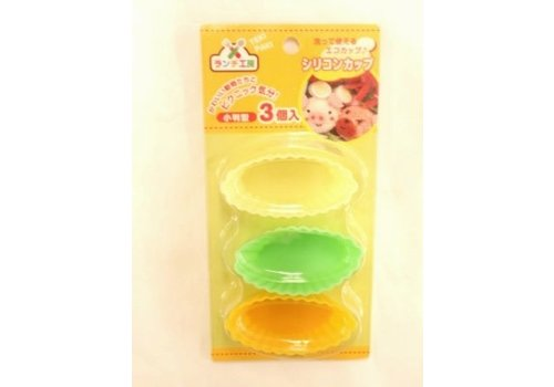 Silicone cup for lunch box, oval, 3p