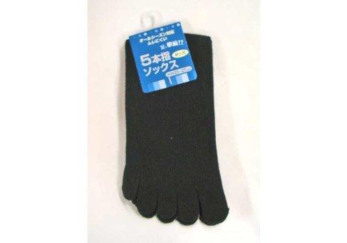 Toe socks for men, long, black