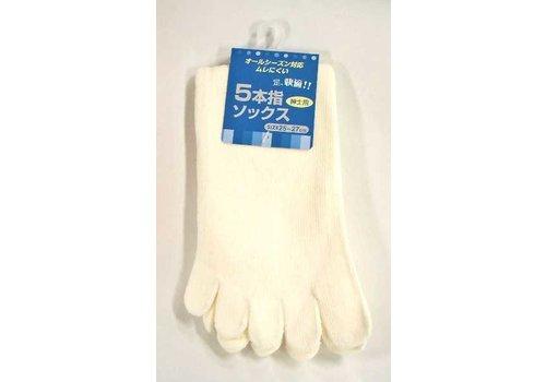 Men's knee-length 5 finger socks white : PB