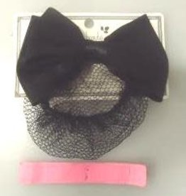Pika Pika Japan Ribbon hair barrette with net black : PB
