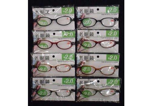 Reading glasses, +2.0
