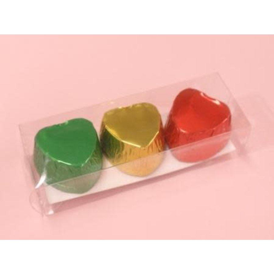 Chocolate cups heart shape C metallic 9p-1