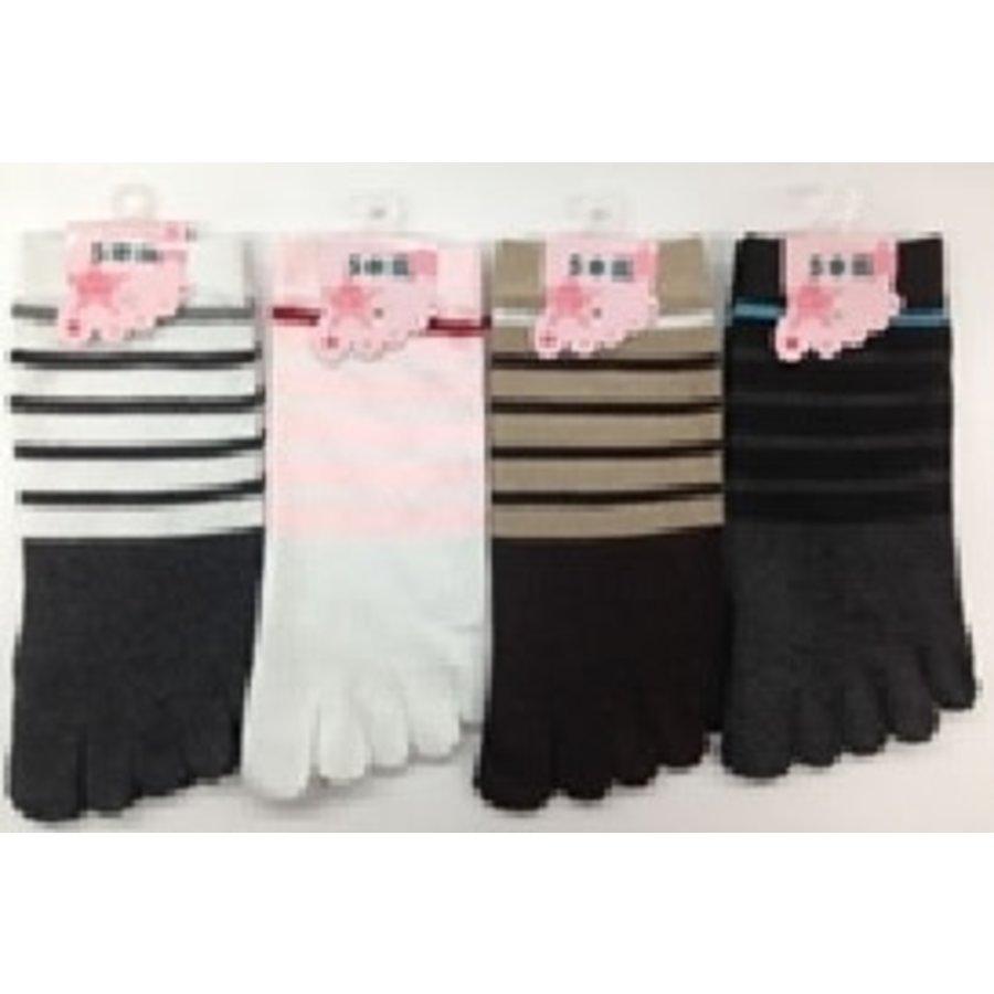 Lady's 5 toe sneaker socks-1