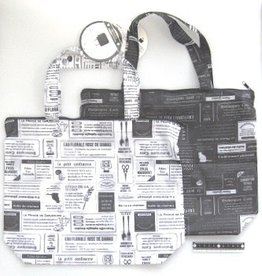 Pika Pika Japan Bag with fastener newspaper pattern : PB