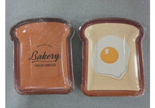 Bread paper plate L bread shape 4p