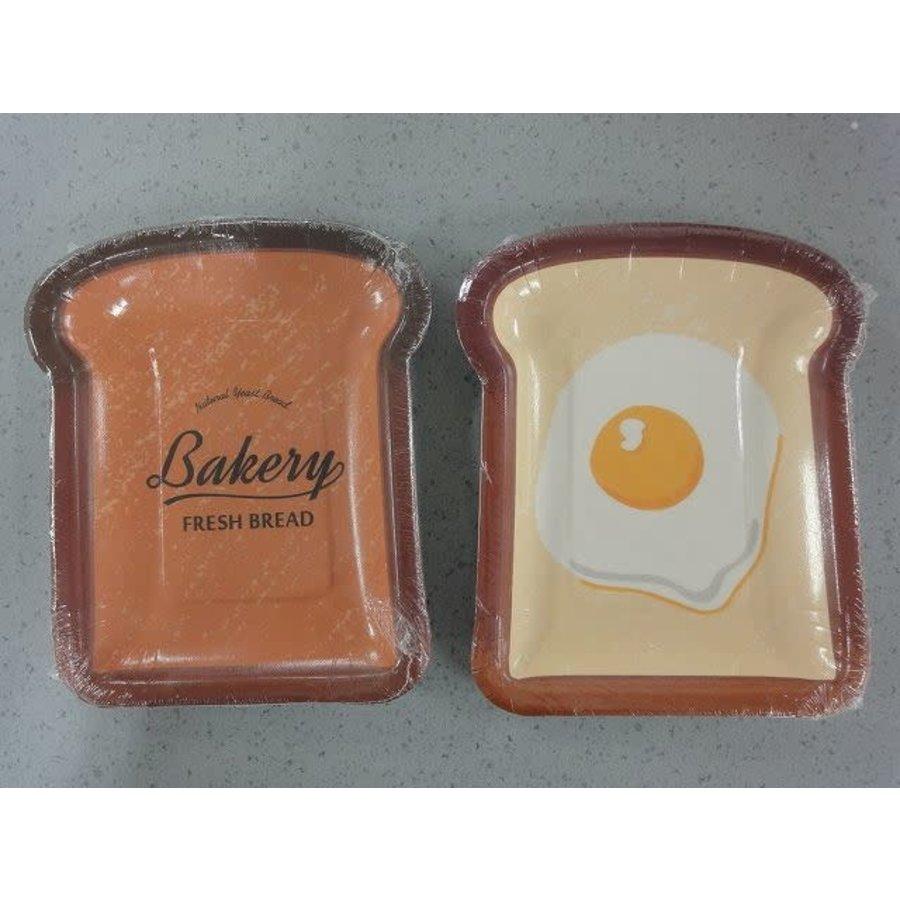 Bread paper plate L bread shape 4p-1