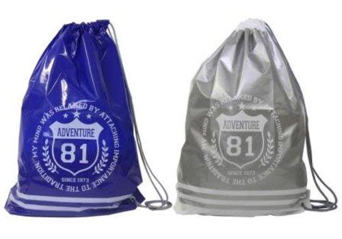 Vinyl shoulder bag with emblem