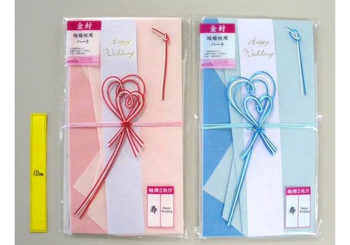 Heart gold wedding envelope 2 pattern