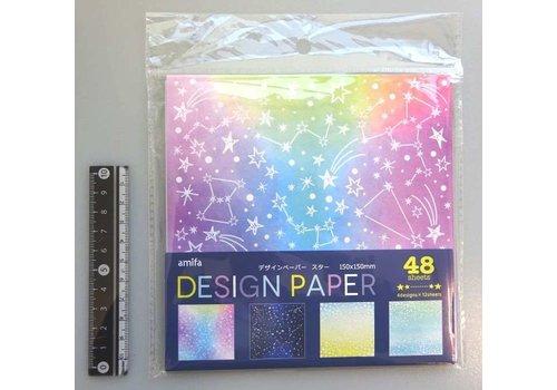 Design papier met sterren, 48 vellen