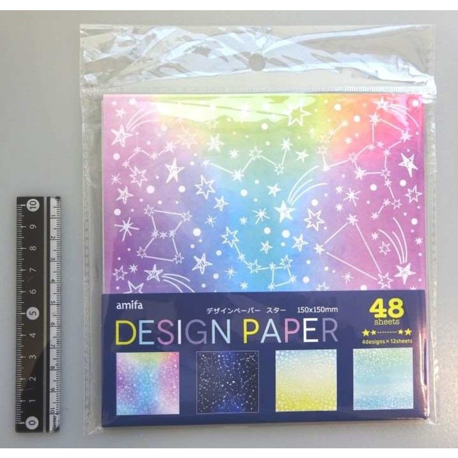 Design papier met sterren, 48 vellen-1