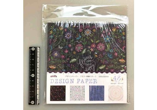 Design paper flower embroidery motif 48s