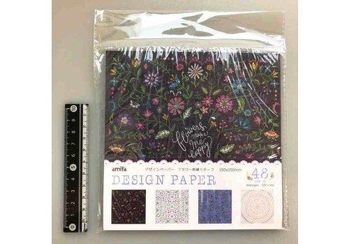 Design papier bloemen borduurmotief, 48 vellen