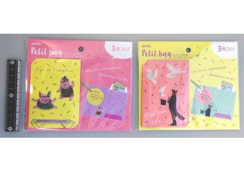 Klein geldzakje in kaart met ruimte voor een boodschap, dierencircus, 3 stuks
