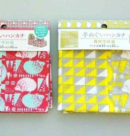 Pika Pika Japan Washcloth handkerchief geometric pattern hedgehog