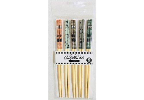 Bambpp chopsticks, cat pattern, 5sets