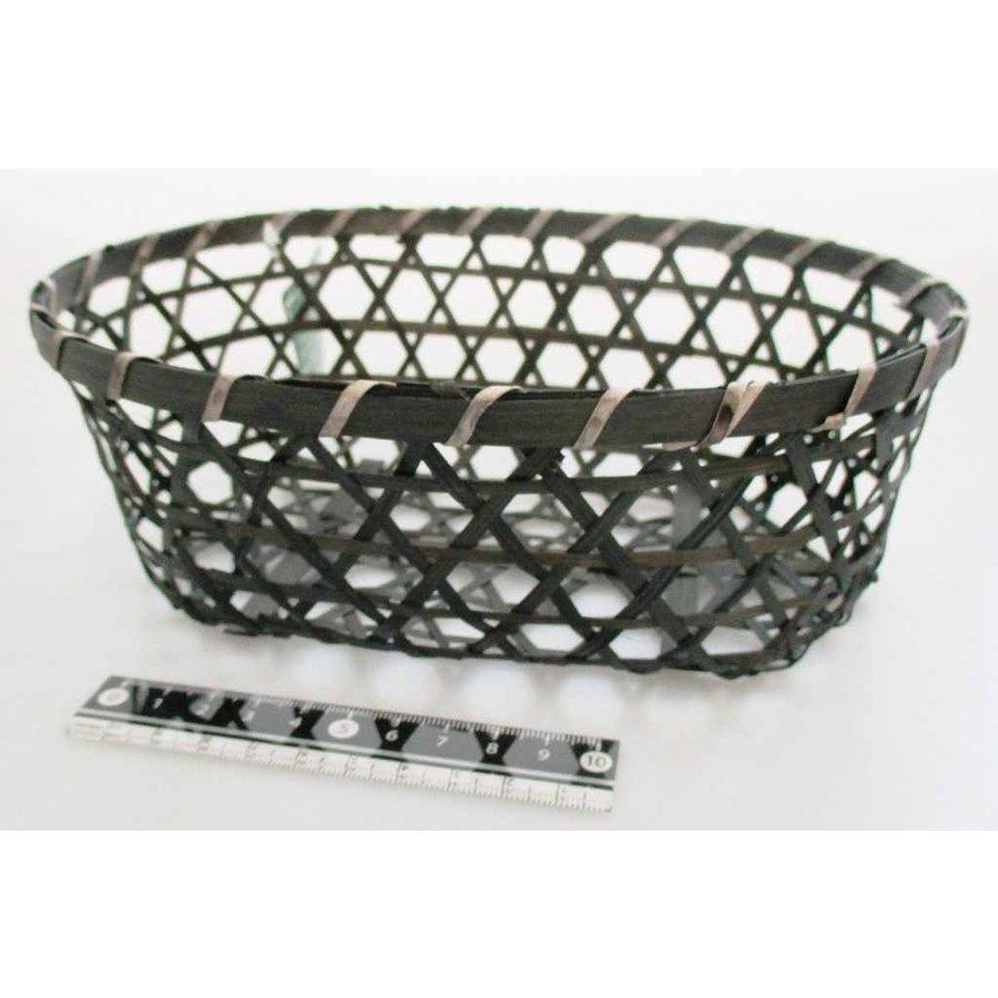 Bamboo knitting basket oval M-1