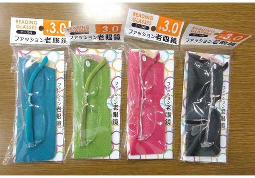 Fashion reading glasses with case +3.0