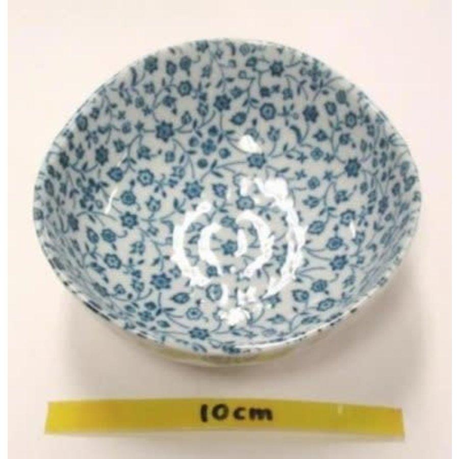 Kommetje fijne blauw bloemenpatroon, oneven bovenkant, 11 cm-1