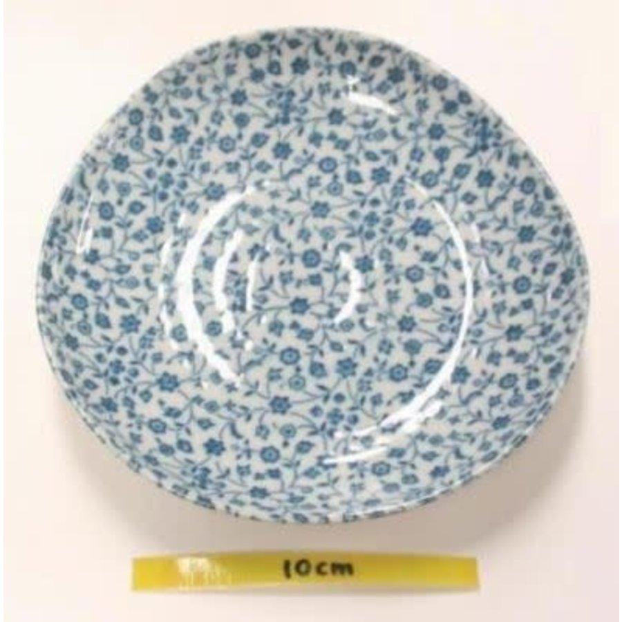 Schaaltje met fijn blauw bloemenpatroon, oneven bovenkant, 16,5 cm-1