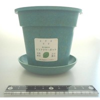 Eco planter with saucer round turquoise blue