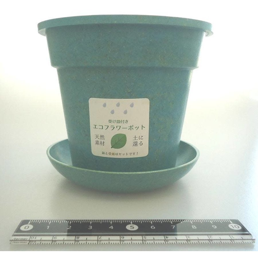 Eco planter with saucer round turquoise blue-1