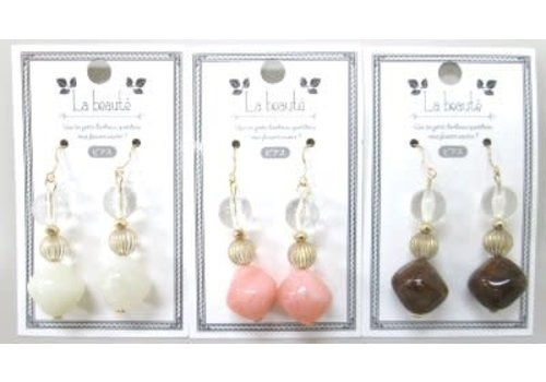 Clear mix color beads pierced earrings