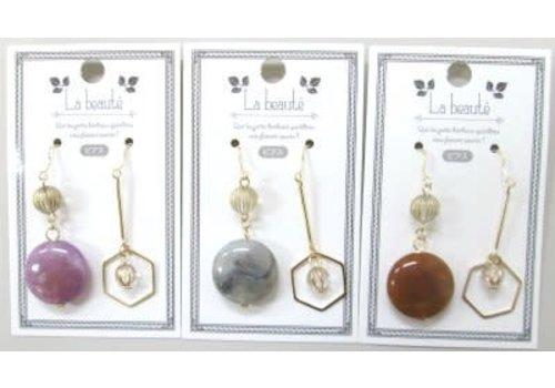 Asymmetry mix beads pierced earrings