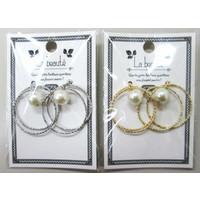 W ring pierced earrings with pearl