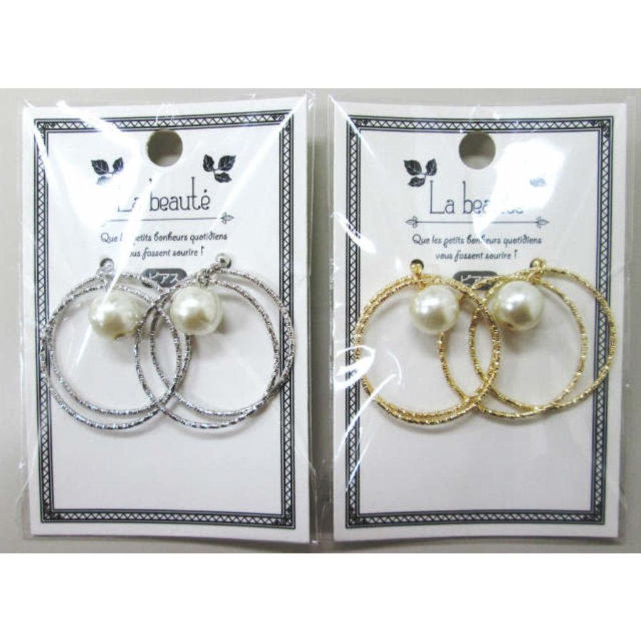 W ring pierced earrings with pearl-1