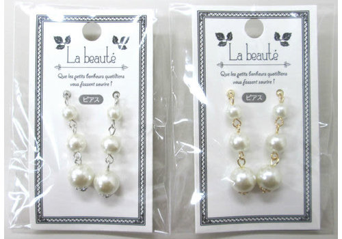 Pearl line pierced earrings