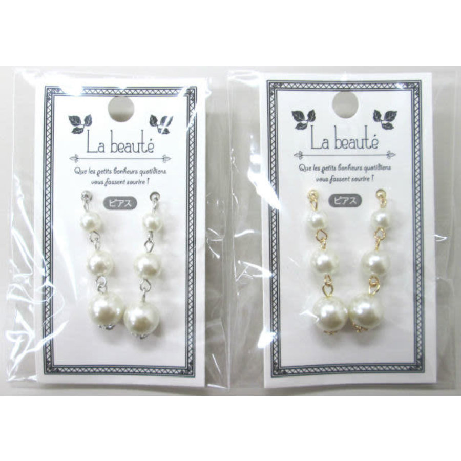Pearl line pierced earrings-1
