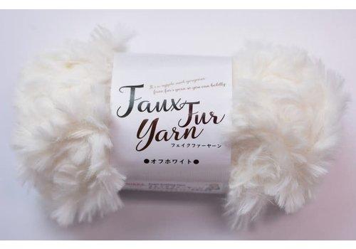 Fake fur yarn off white