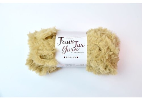 Fake fur yarn latte beige