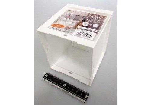 Plastic seasoning box (square) attached case, white