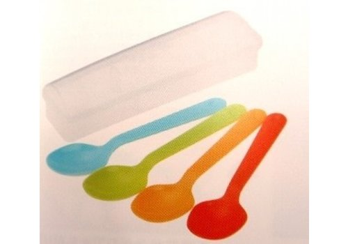 Plastic spoon with case, color, 4p