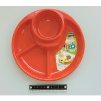 Plastic plate for BBQ, round, red