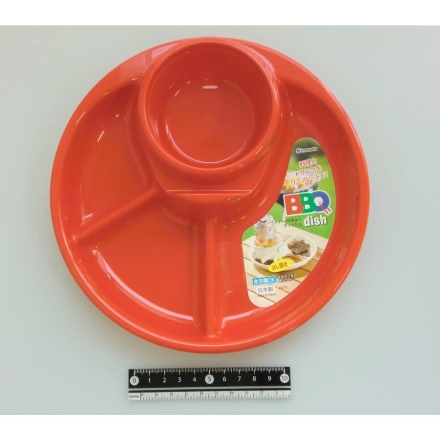 Plastic plate for BBQ, round, red-1