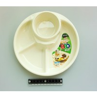 Plastic plate for BBQ, round, ivory