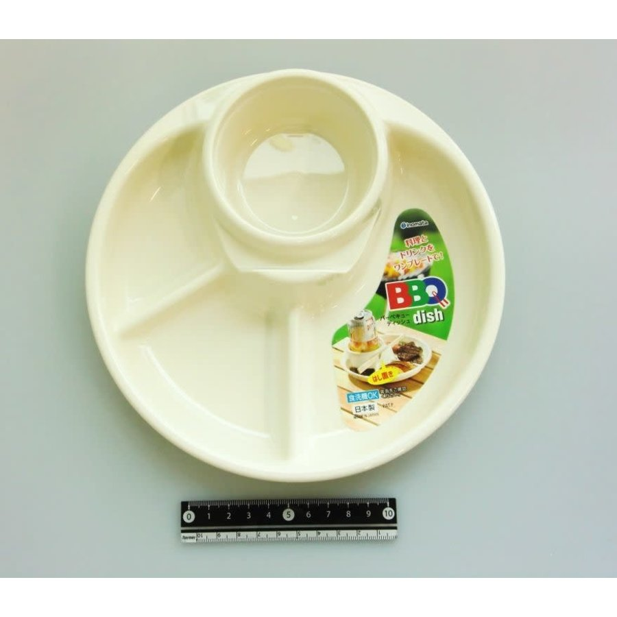 Plastic plate for BBQ, round, ivory-1