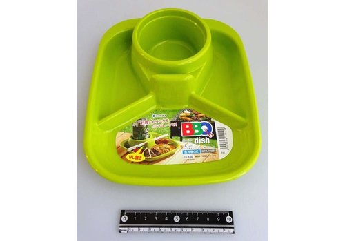 Plastic plate for BBQ, square, green
