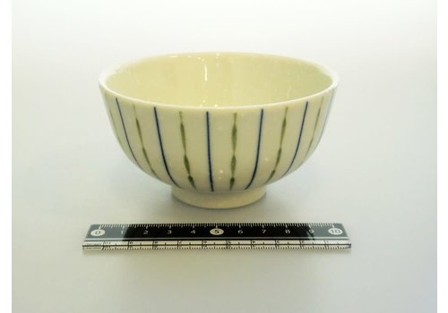 Rice bowl blue dot and stripes