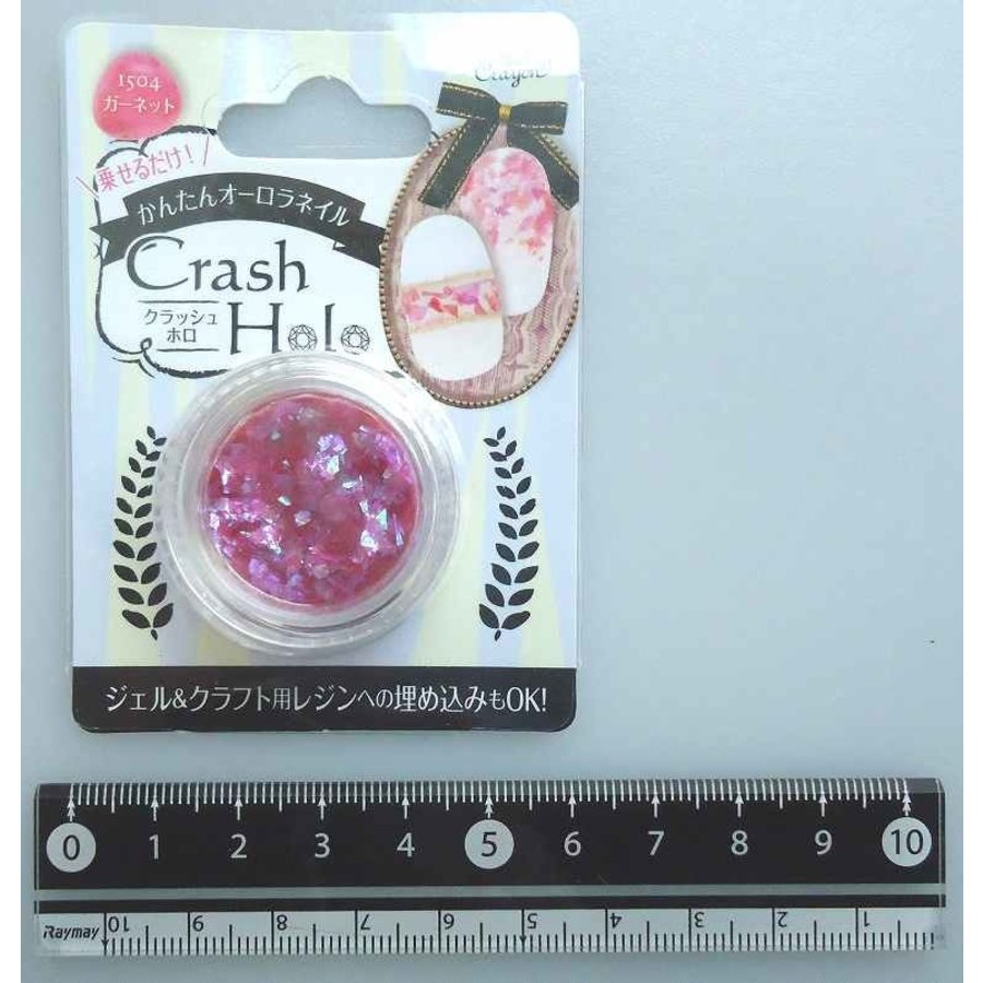 Nail art parts, clushed hologram, pink-1