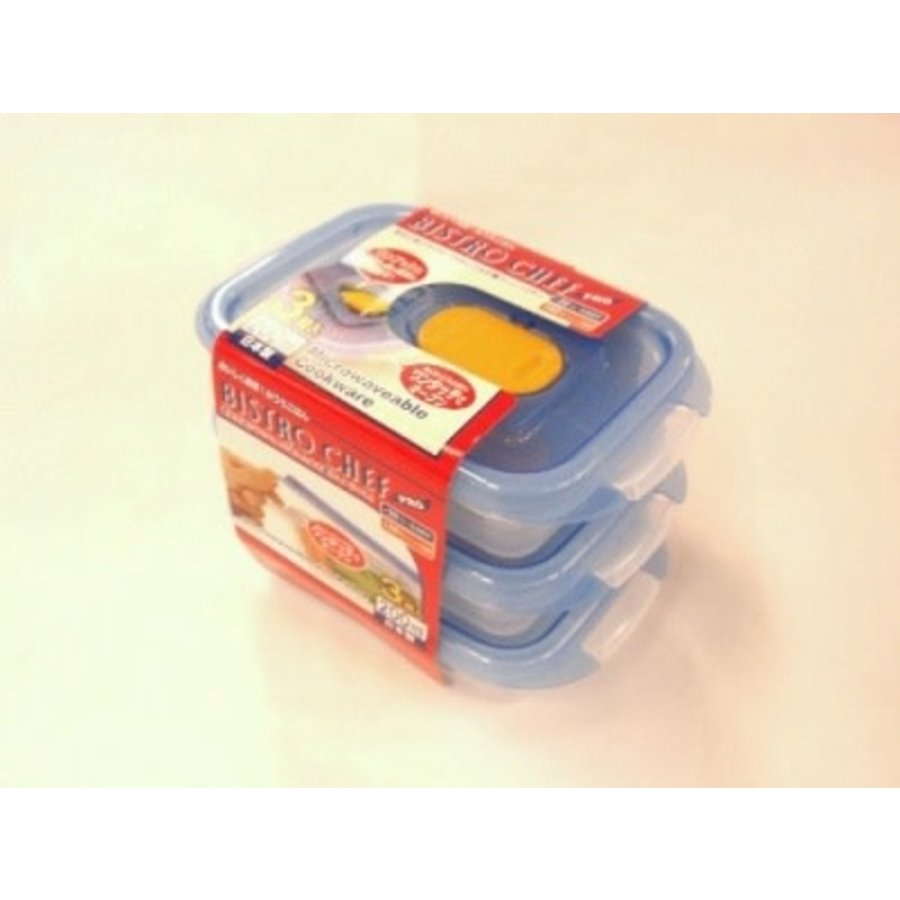 Plastic food canister with steam hole 200ml, 3p-1