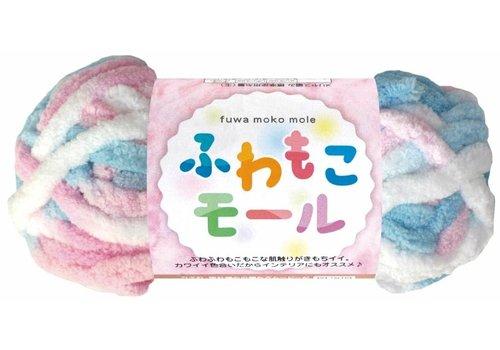 Fluffy mole 3 pink/light blue/white