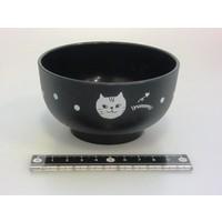 Kunststof kom, zwart, kattenpatroon, 10,5 cm