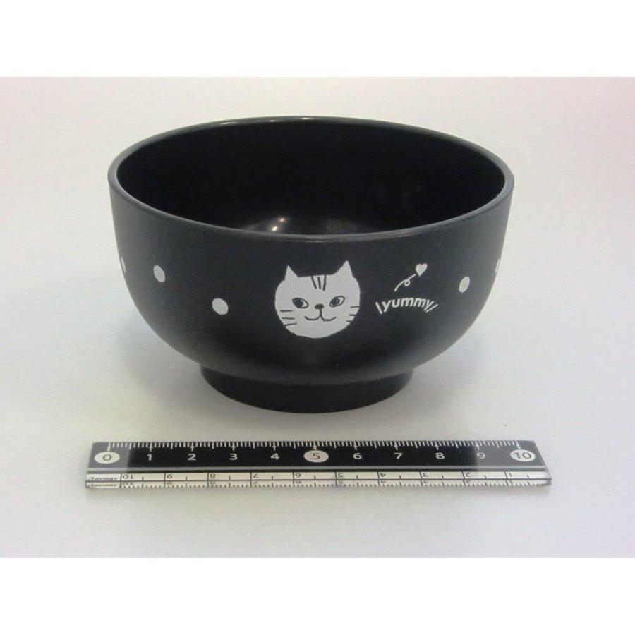 Kunststof kom, zwart, kattenpatroon, 10,5 cm-1