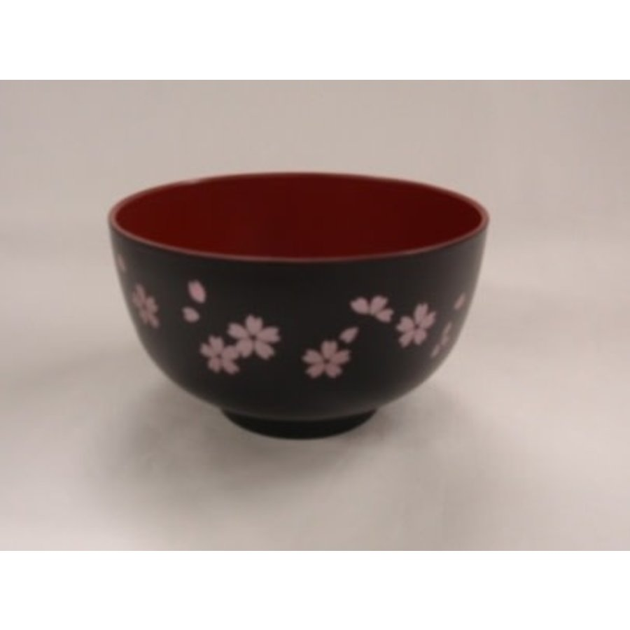 Kunststof kom met kersenbloesenpatroon, rood binnen, zwart buiten, 11 cm-1